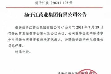 扬子江宣布接班人徐镜人之子徐浩宇担任公司董事长法定代表人及公司总经理